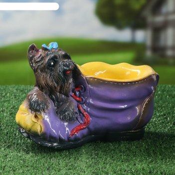 Садовая фигура ботинок с собакой