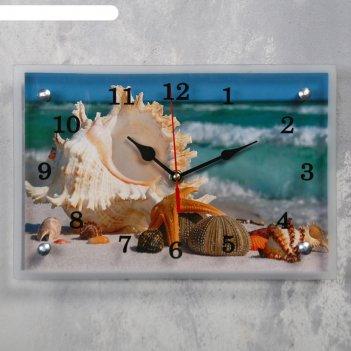 Часы настенные прямоугольные «ракушки», 20 x 30 см, микс