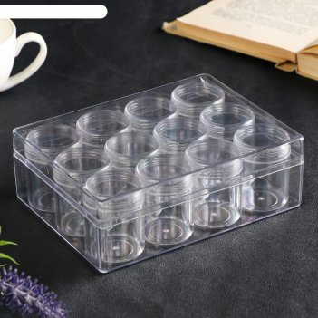 Шкатулка пластик для мелочей круг прозрачная набор 12в1 5,5х12х16 см