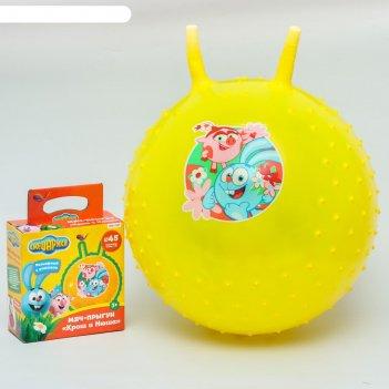 Мяч прыгун смешарики крош и нюша с ручками d=45 см