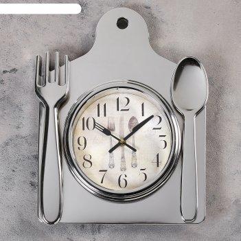Часы настенные, серия: кухня, лориш, 36х29 см, хром