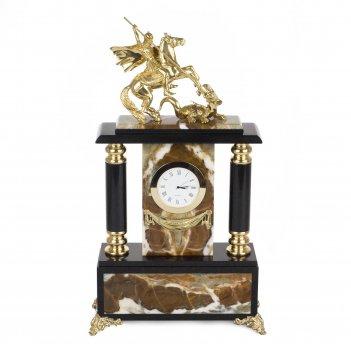 Часы георгий победоносец офиокальцит бронза 210х80х380 мм 4600 гр.