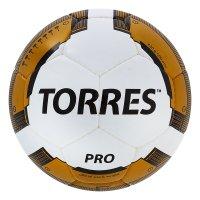 Мяч футбольный torres pro, р.5, бело-золотисто-черный