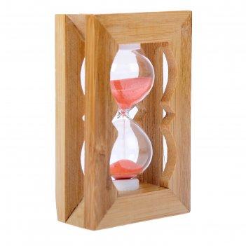 Часы песочные, рамка прямоугольная, резная, светлое дерево