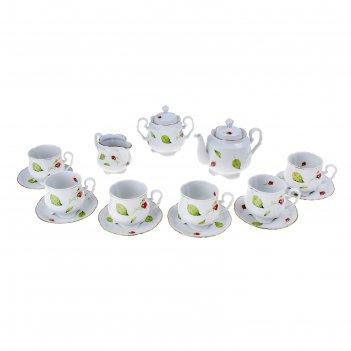 Сервиз чайный бутоны, 15 предметов: 6 чашек, 6 блюдец, чайник, сахарница,