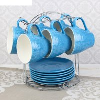 Набор чайный акварель, 12 предметов: 6 кружек 240 мл, 6 блюдец, цвет синий