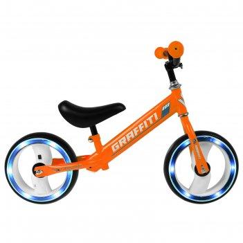 Беговел graffiti 10, колеса световые, оранжевый