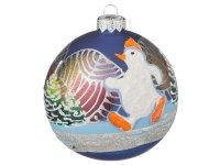 Шар елочный авторская роспись снеговик на синем ф...