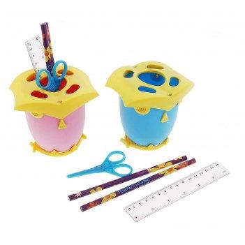 Настольный набор детский сова из 5 предметов: подставка, ножницы, линейка,