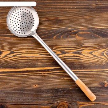 Шумовка для казана 53см, диаметр 15см, светлая деревянная ручка