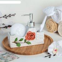 Дозатор для моющего средства с подставкой для губки с щеткой бутон розы