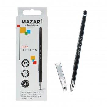 Ручка гелевая lexy, узел 0.5мм, черная, игольчатый пишущий узел в форме кр