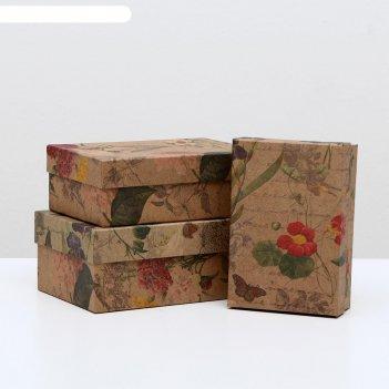 Набор коробок 3 в 1 цветы ретро крафт, 19 х 12 х 7,5 - 15 х 10 х 5 см