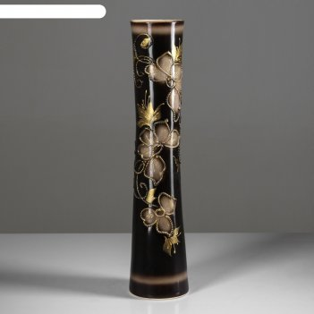 Ваза напольная форма виола цветы, глазурь, черная