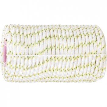 Фал плетеный капрон с сердечником, 16-прядный, 6 мм, бухта 100 м, 650 кгс