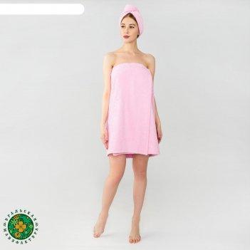 Набор для сауны экономь и я  парео 68*150 см+чалма махра, цв. розовый, 340