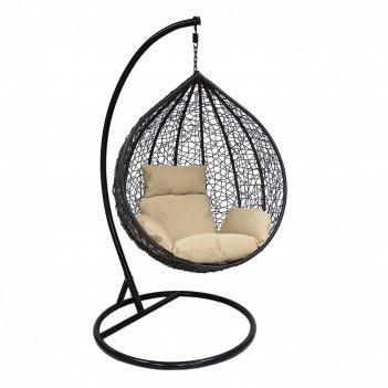 Подвесное кресло leset altar black ми, каркас чёрный, подушка кофейная