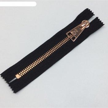 Молния для одежды, №8ст, неразъемная, 14 см, цвет чёрный