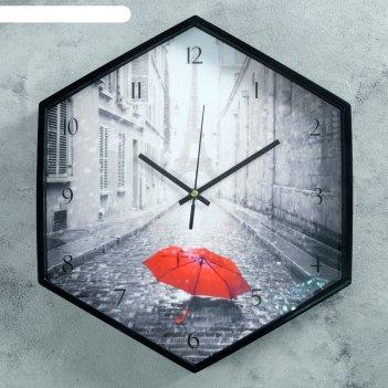 Часы настенные, серия: город, краски парижа, шестиугольные, черные, 34х39