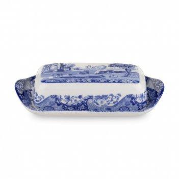 Масленка , размер: 20 х 10 см, материал: фаянс, цвет: декор, серия голубая