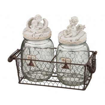 Набор банок для сыпучих продуктов из 2-х шт.ангелы в металлической корзинк