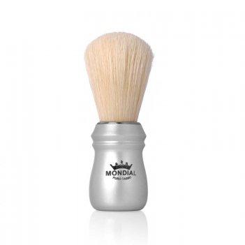 Помазок для бритья mondial, пластик, свиной ворс, рукоять - матовый серебр