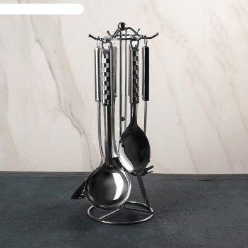 Набор кухонных принадлежностей 6 предметов шахматы, на подставке