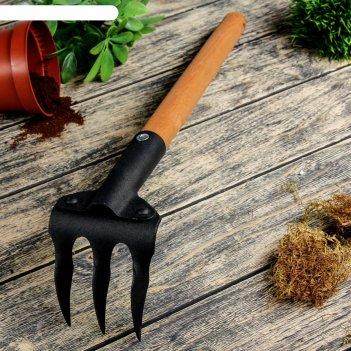 Грабли прямые, 3 зубца, длина 40 см, деревянная ручка, «флора премиум»