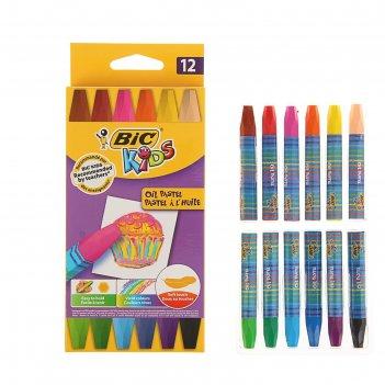 Мелки восковые 12цв bic kids oil pastel  926446