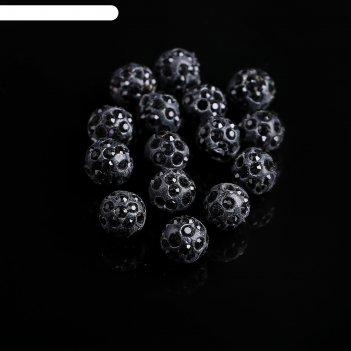 Бусина шамбала 8мм (набор 15шт), цвет черный