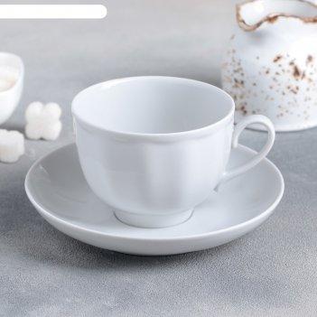 Чашка чайная с блюдцем 275 мл гранатовый. белая