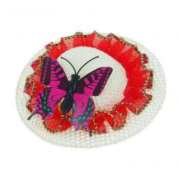Карнавальная шляпка-зажим бабочка, цвета микс