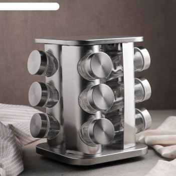 Набор для специй профи 12 предметов 18х18х20 см, цвет серебро