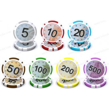 Фишки для покера euro (евро) 12 гр с номиналом