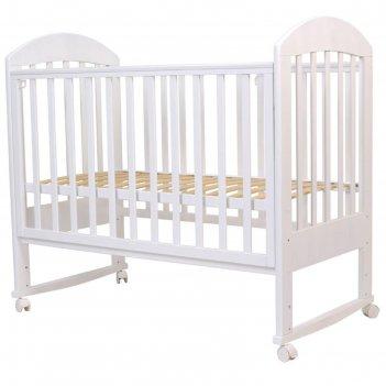 Кровать детская «дарина-2», 120х60 см, колесо, качалка, цвет белый