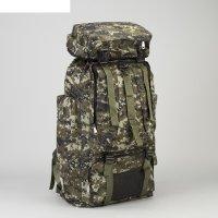 Рюкзак туристический, отдел на шнурке, 6 наружных карманов, цвет хаки