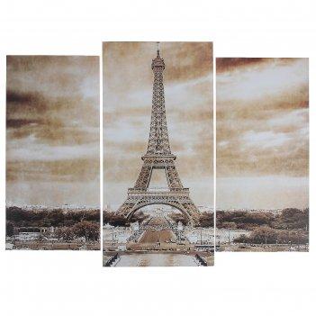 Модульная картина ретро париж  (2-25х52; 1-30х60) 60х80 см