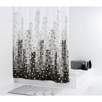 Штора для ванных комнат skyline, цвет серый, 180х200 см