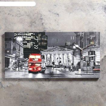 Часы настенные на холсте лондон, 40х76 см  микс
