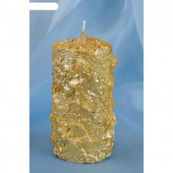 Свеча пенек снежный золотой