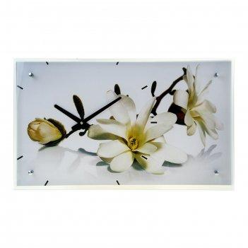 Часы настенные прямоугольные белые цветы, 35х60 см