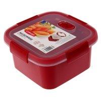 Контейнер пищевой 1,1 л microwave квадратный, цвет красный