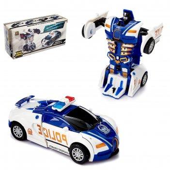 Робот-трансформер инерционный полицейский, трансформируется автоматически