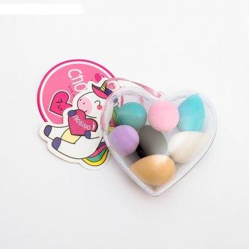 Набор спонжей для макияжа в сердечке «люблю», 7,5 х 8,5 х 3,5 см