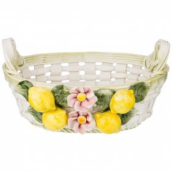Корзина декоративная овальная лимоны 29х24х15 см.