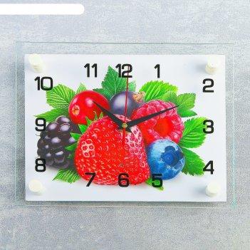 Часы настенные прямоугольные ягоды, 20х26 см микс
