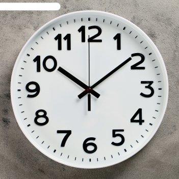 Часы настенные, серия: классика, этель, d=30 см, плавный ход, 1 аа, белые