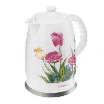 Чайник электрический sakura sa-2028t, 1500 вт, 2 л, керамика, рисунок тюль