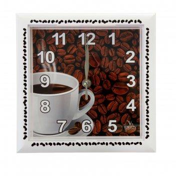 Часы настенные квадратные зерна кофе, кухонные