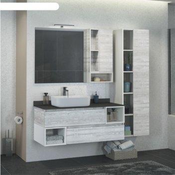 Зеркало-шкаф comforty «прага-120» дуб белый